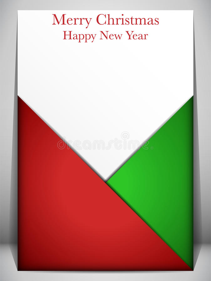 Merry Christmas Card Red and Green Envelope royalty free illustration