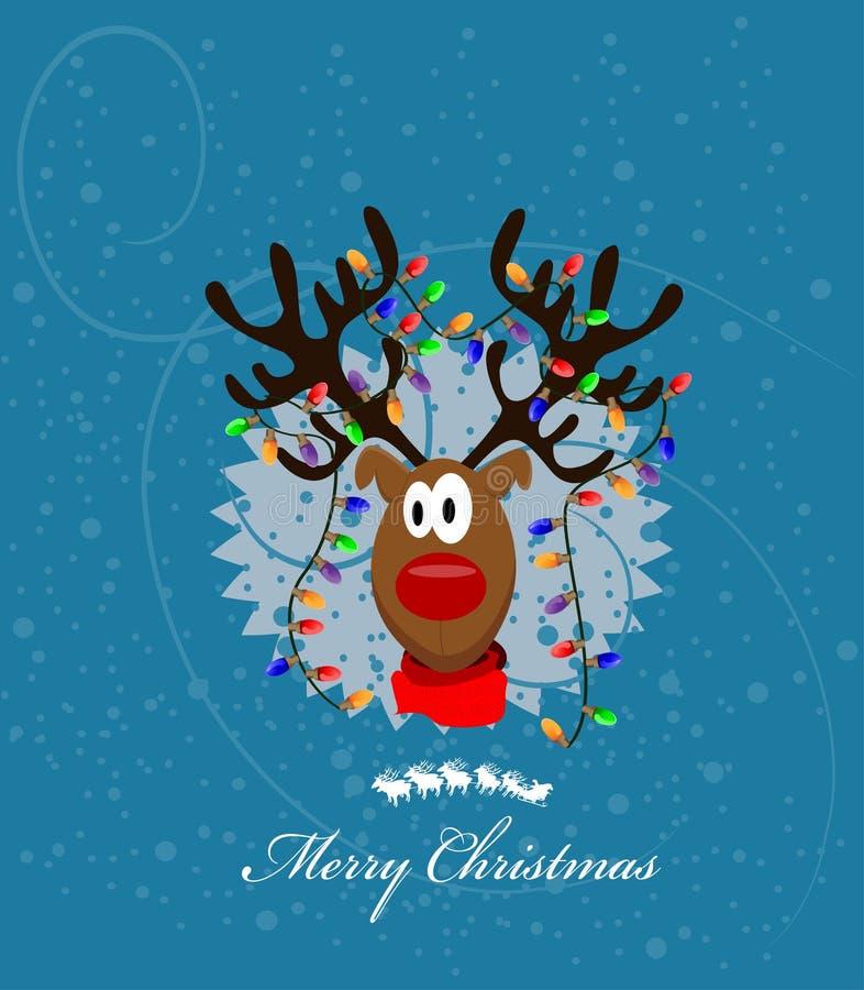 Merry Christmas Card With Reindeer Stock Photos