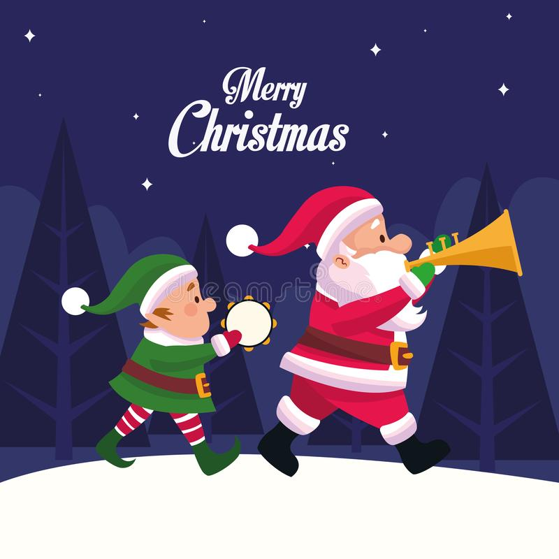 Merry christmas card with santa claus and elf playing instruments stock illustration