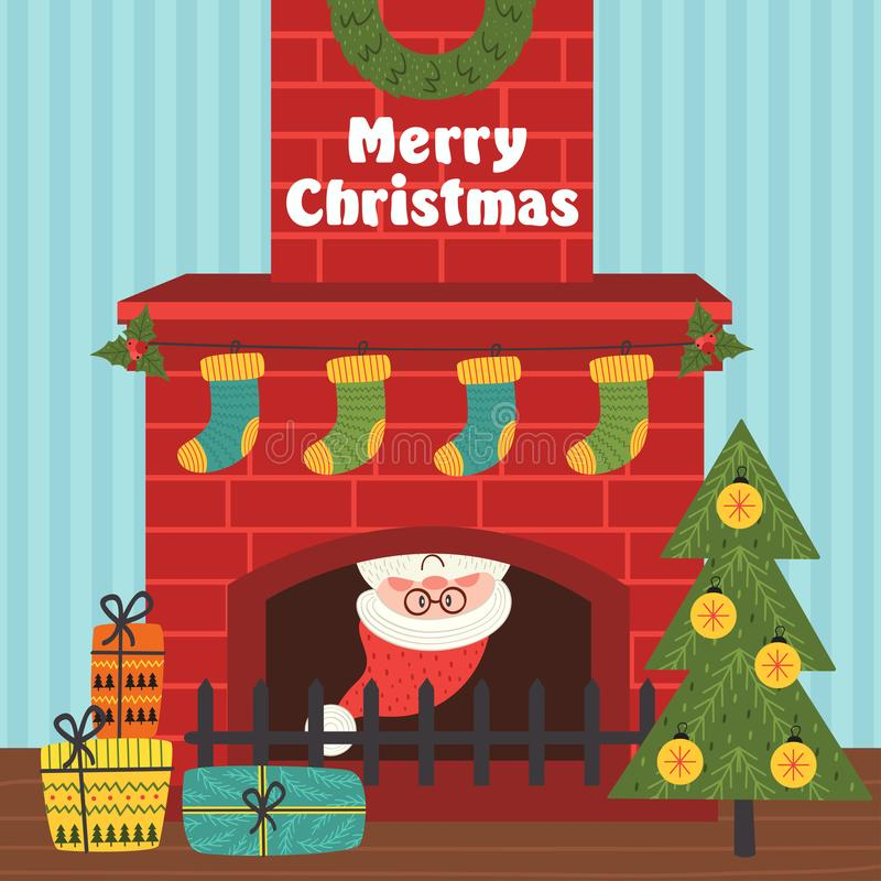 Merry Christmas card with Santa Claus inside fireplace royalty free illustration