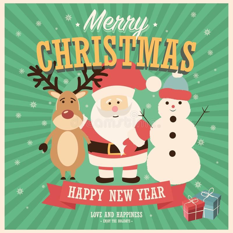Merry Christmas card with Santa Claus, snowman and reindeer with gift boxes royalty free illustration