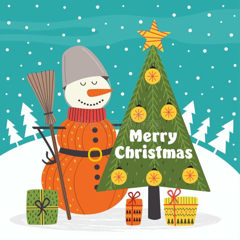 Merry Christmas card with snowman vector illustration
