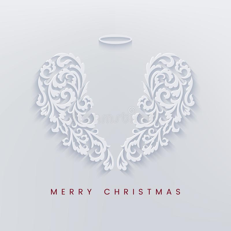 Merry Christmas paper cut card with angel wings vector illustration