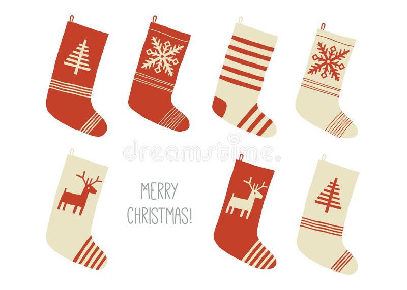 Merry Christmas card. Christmas stockings. Christmas holiday stockings or socks collection. Cartoon New Year vector eps vector illustration