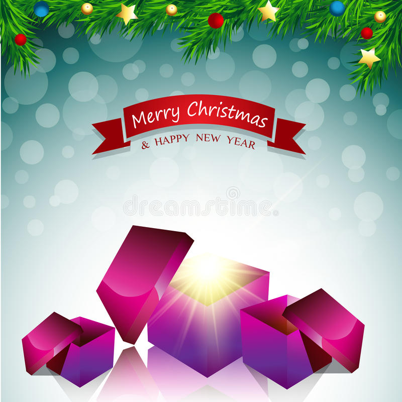 Merry Christmas Card Surprise Gift Box Stock Photo - Image of ...