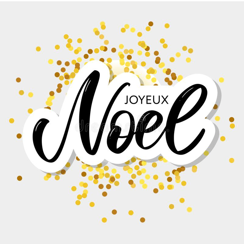Merry Christmas card template with greetings in french language. Joyeux noel. Vector illustration EPS10 royalty free illustration