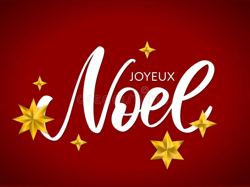 Merry Christmas card template with greetings in french language. Joyeux noel. Vector illustration EPS10. Merry Christmas card template with greetings in french stock illustration