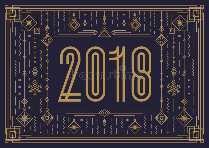 Merry Christmas card template with sign 2018 and new year toy gold art deco style royalty free illustration