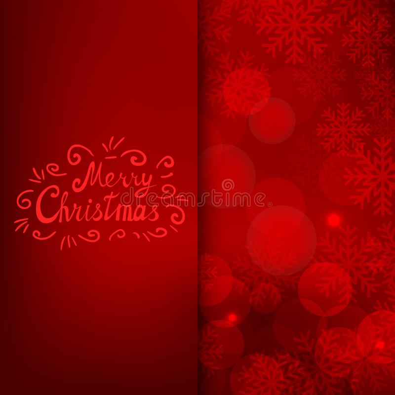 Merry Christmas card with text on red background stock illustration