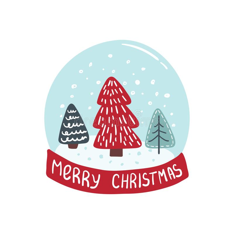 Merry Christmas card with christmas tree royalty free illustration
