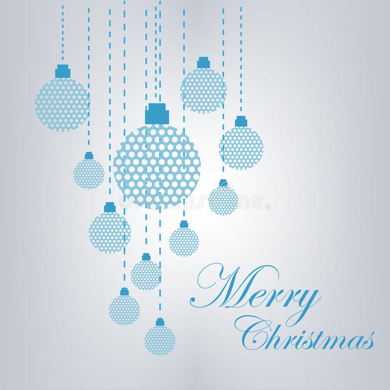 Merry Christmas Card. Vector illustration of Christmas balls, and ornaments on a light blue background with merry Christmas words stock illustration