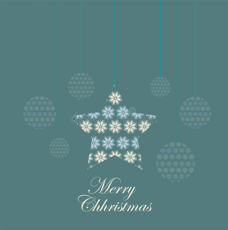 Merry Christmas Card. Vector illustration of Christmas balls, and ornaments on a light blue background with merry Christmas words vector illustration