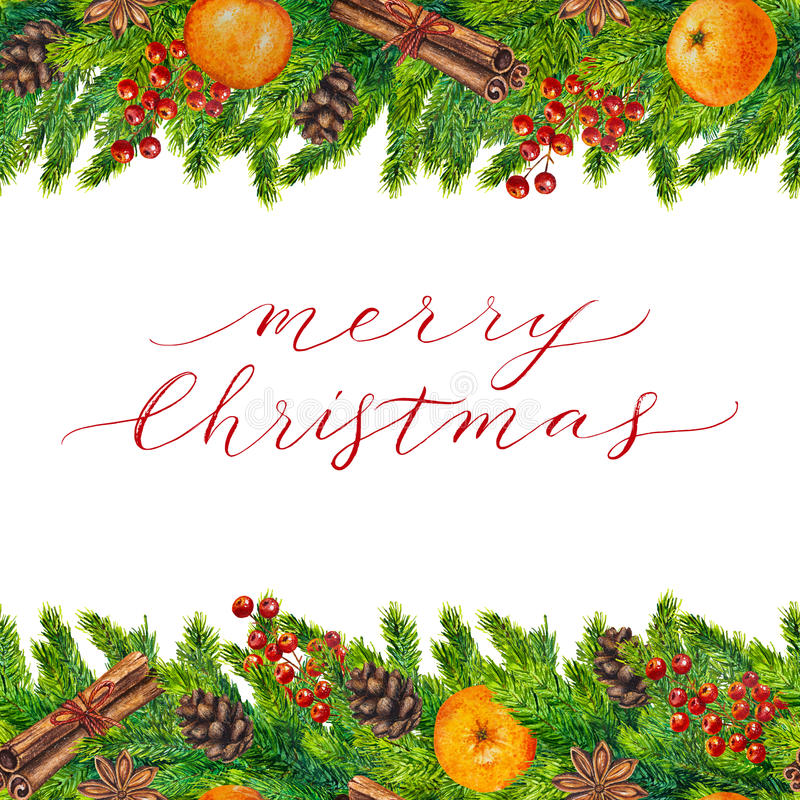 Merry Christmas card with watercolor frame vector illustration