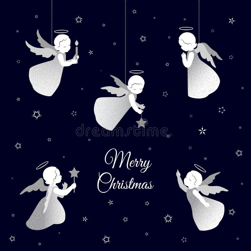 Merry Christmas card with white angels and snowflakes. Simple little cute angels with shiny wings with a congratulations text Merry Christmas. Angels with stars royalty free illustration