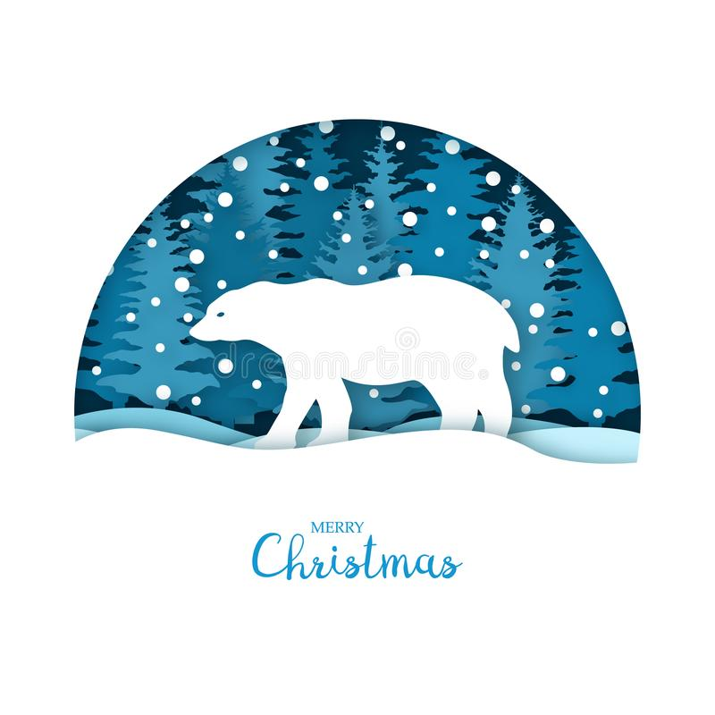 Merry Christmas card. White bear in the snow forest. Greeting card template in paper cut craft style. Origami concept. Vector illustration stock illustration