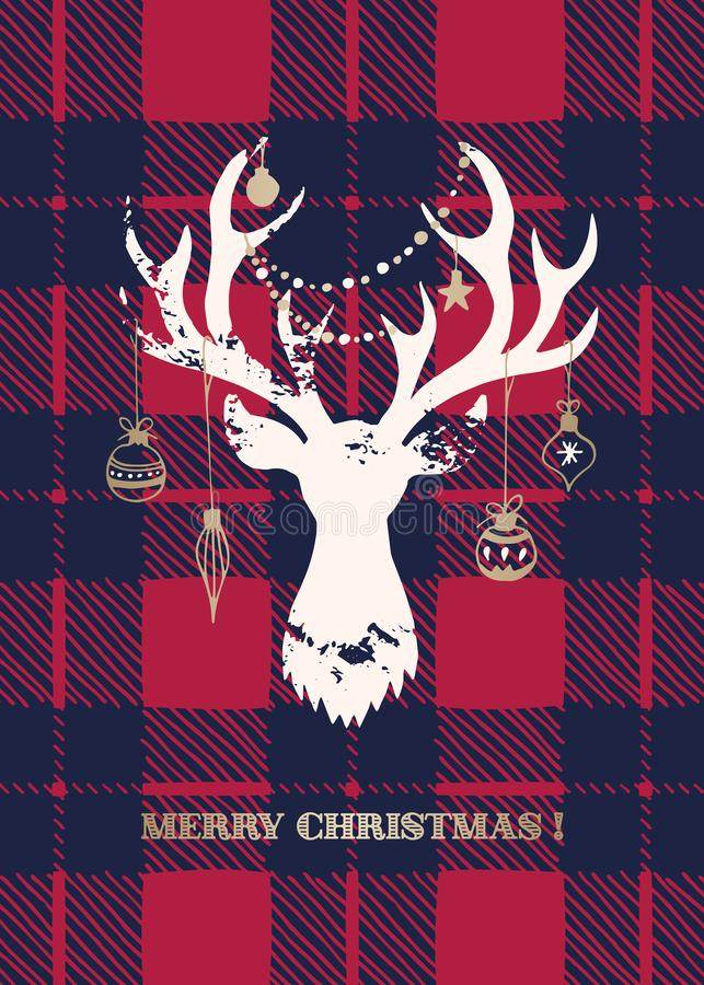 Christmas Card with a White Textured Silhouette of a Deer Head with Gold Hand-Drawn Baubles on Buffalo Checks Background stock illustration