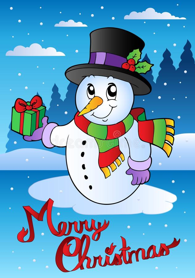 Free Merry Christmas Card With Snowman 2 Royalty Free Stock Photos - 21519708