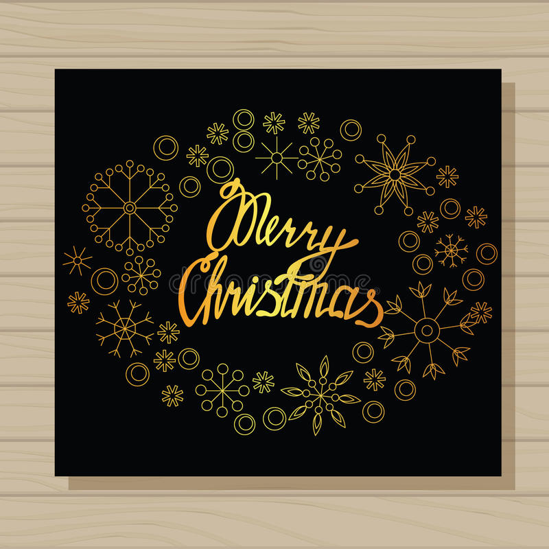 Merry Christmas card on wooden background. Vector merry Christmas card on wooden background vector illustration