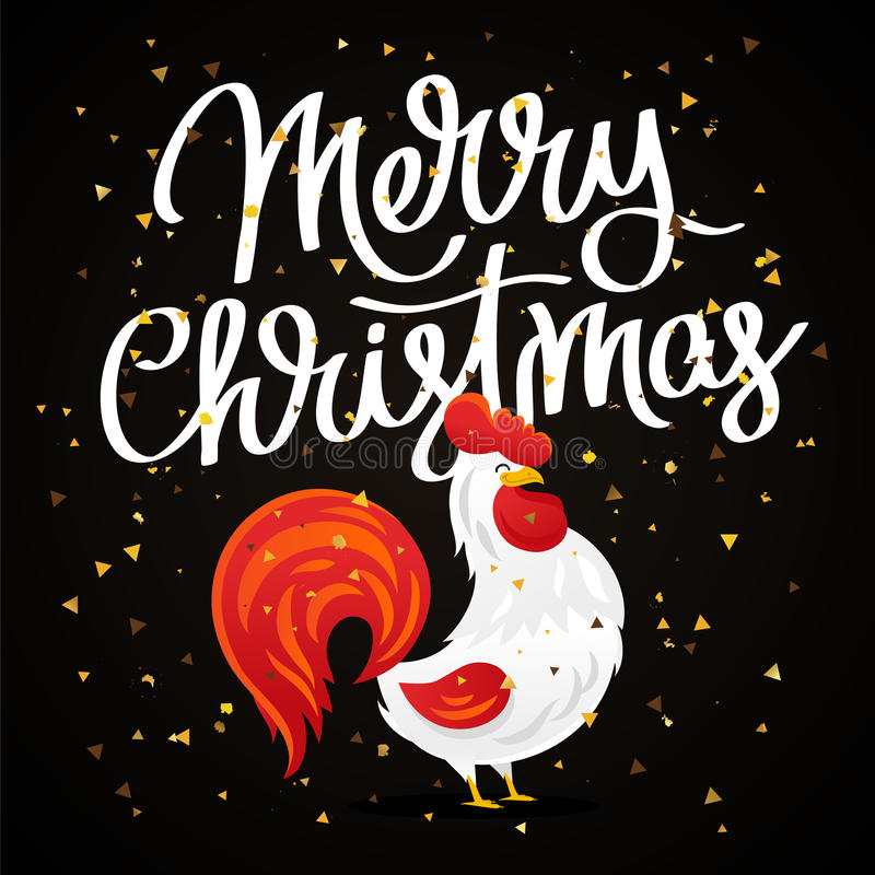 Merry Christmas. Cartoon drawing of a rooster royalty free illustration