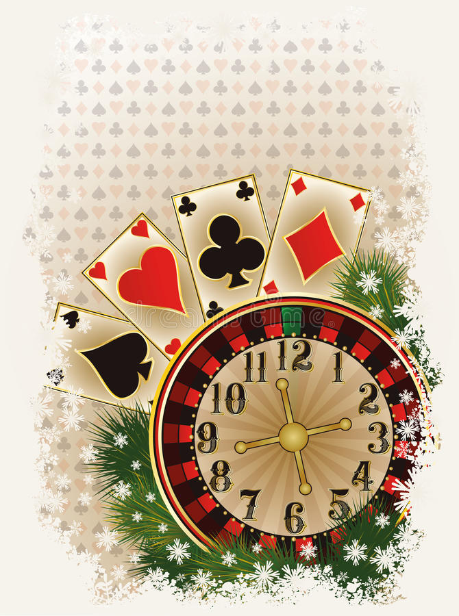 Merry Christmas Casino invitation card vector illustration