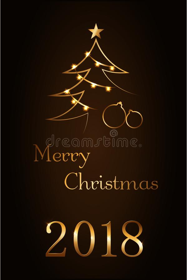 Merry Christmas celebration abstract background, gold Xmas balls. Decorative golden baubles, fairy lights, number 2018 vector illustration