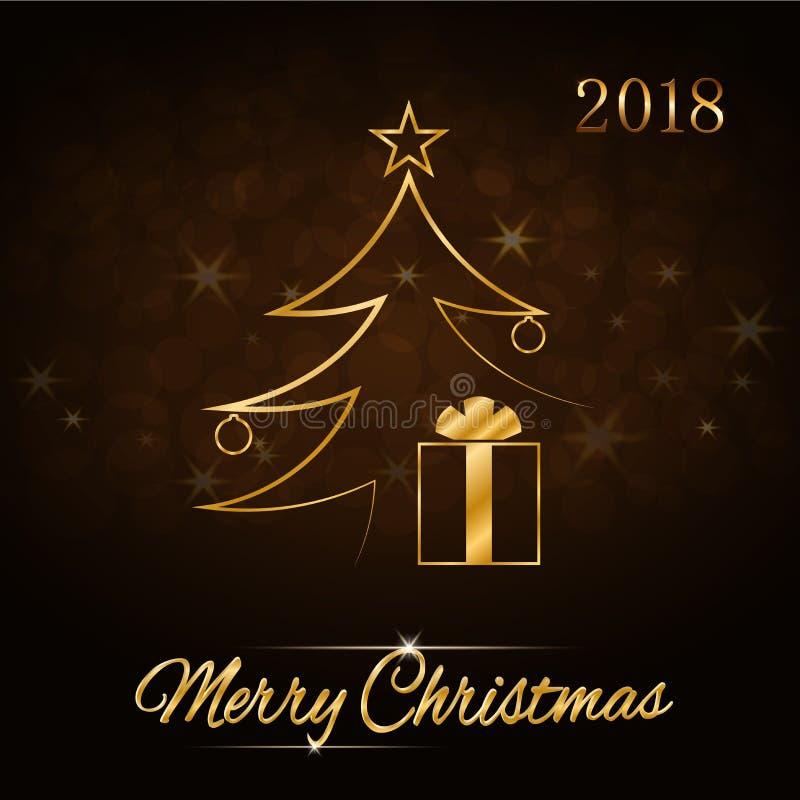 Free Merry Christmas Celebration Background, Gold Xmas Tree. Decorative Golden Gift Box, Balls, Star. Simple Sketch Card Stock Photo - 106068620