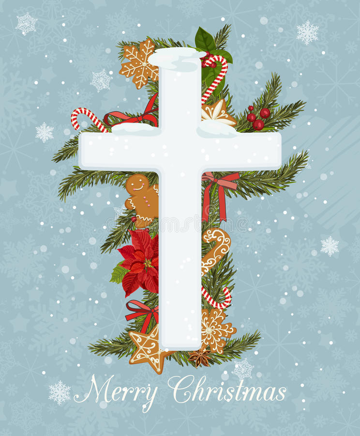 Merry Christmas celebration concept with Christmas Cross on decorative background. Creative greeting card design vector illustration