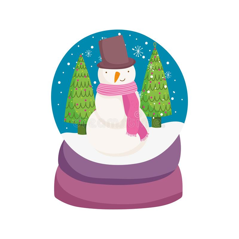 Merry christmas celebration snowglobe with snowman trees snowflakes. Vector illustration stock illustration