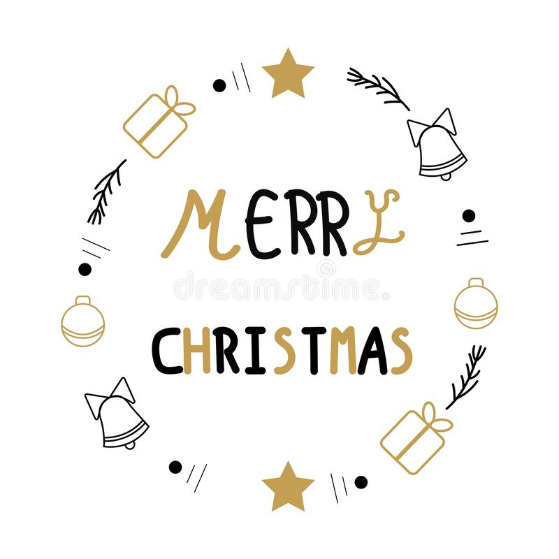 Merry Christmas. Christmas calligraphy.  Hand-drawn design elements vector doodle stock illustration
