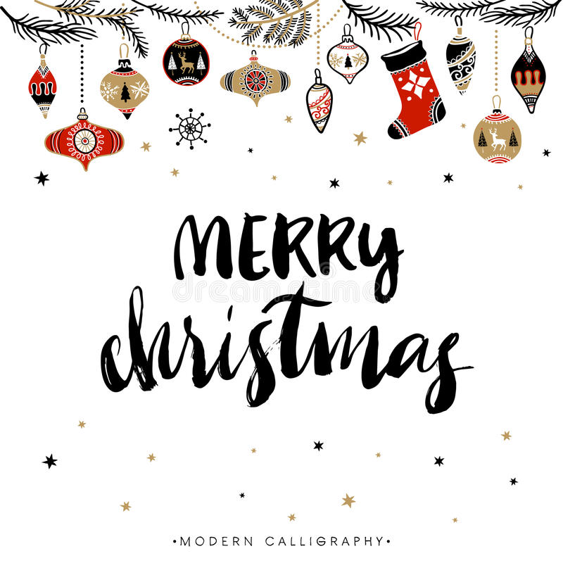 Merry Christmas. Christmas calligraphy. stock illustration