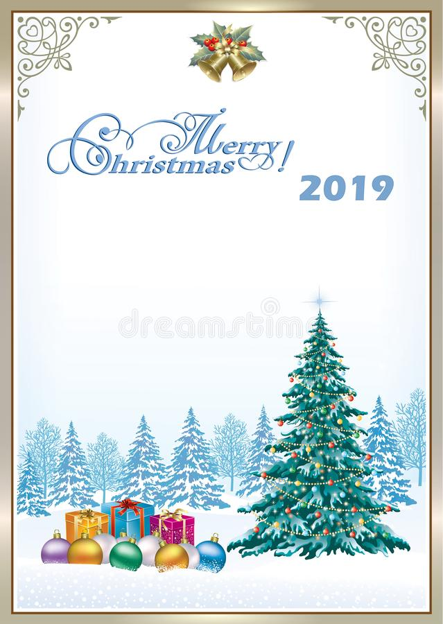 Merry Christmas 2019. Christmas tree with gifts royalty free illustration