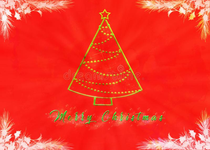 Merry Christmas with Christmas tree and green writing. royalty free illustration