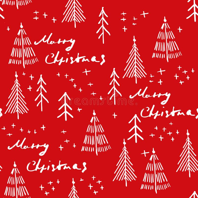 Merry Christmas and christmas tree seamless pattern handdrawn stock illustration