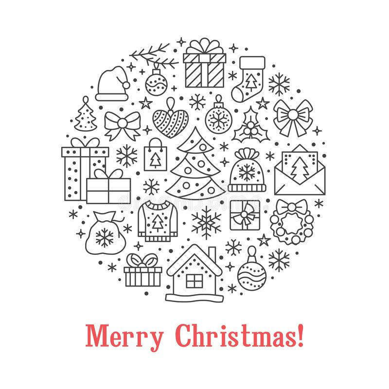 Merry Christmas circle banner illustration with flat line icons. New Year greeting card pine tree, presents, gift boxes. Bag, hat, decoration vector vector illustration