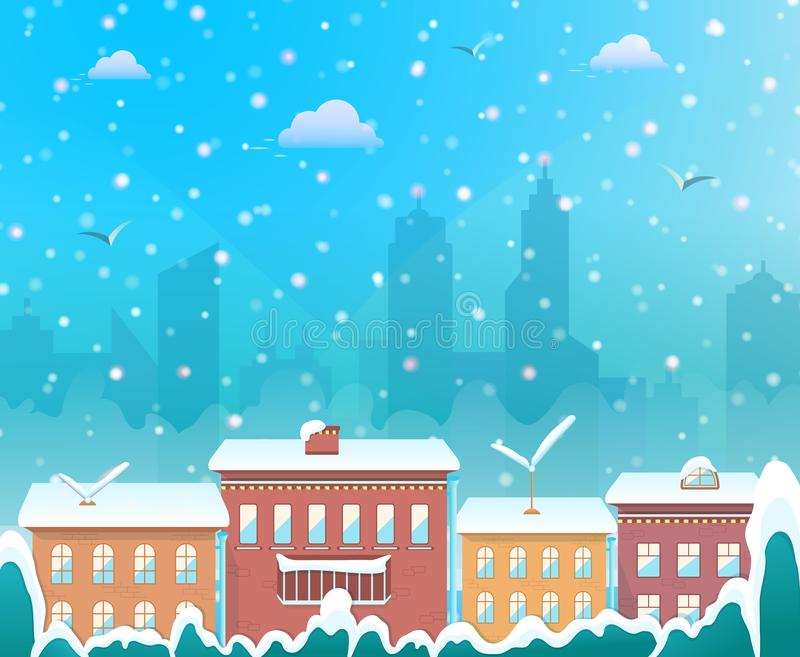 Merry Christmas, city on winter background, cozy snowy town at holiday eve, christmas village for greeting and postal card vector illustration