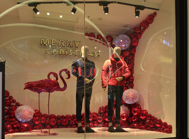 Merry christmas clothing shop window winter fashion