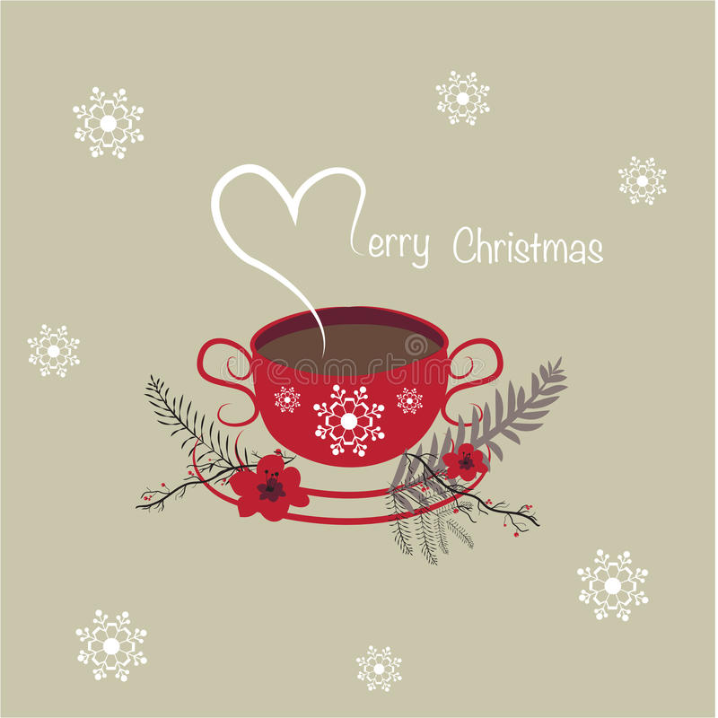 Merry Christmas Coffee Cup Background Stock Illustration - Image ...