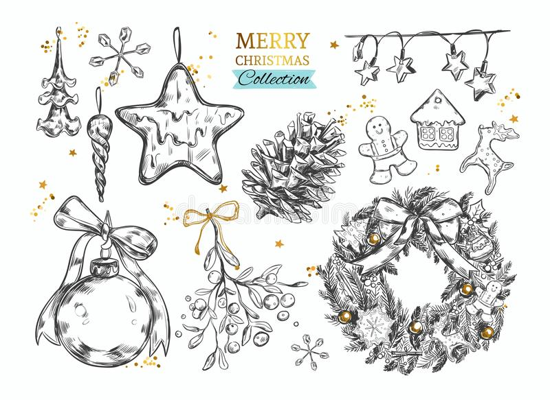 Merry Christmas collection with hand drawn illustrations . Vector vector illustration