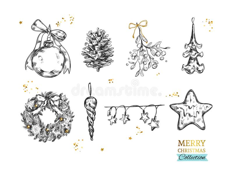 Merry Christmas collection with vector hand drawn illustrations . Christmas ball, Fir-tree cone, Mistletoe, Frozen Star, Lights, C royalty free illustration