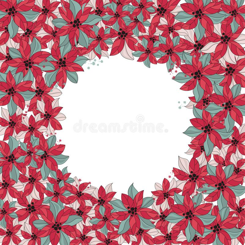 Merry Christmas Color Vector Illustration Set FLOWER WREATH for Scrapbooking and Digital Print stock illustration