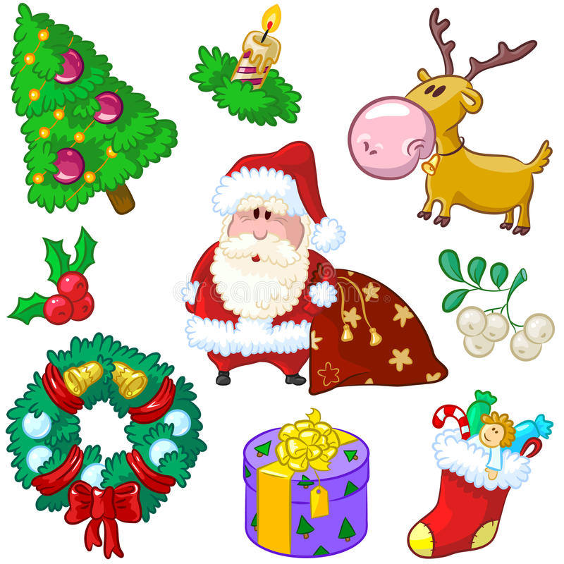 Merry Christmas Colore Doodles stock illustration