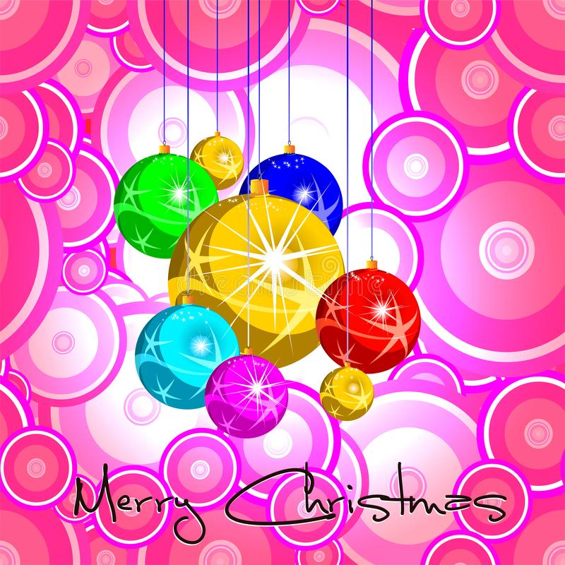 Merry Christmas. Christmas colored balls. Pop Art background vector illustration