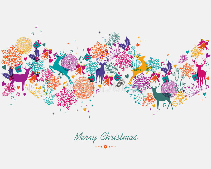 Merry Christmas Colorful Garland Banner Stock Vector