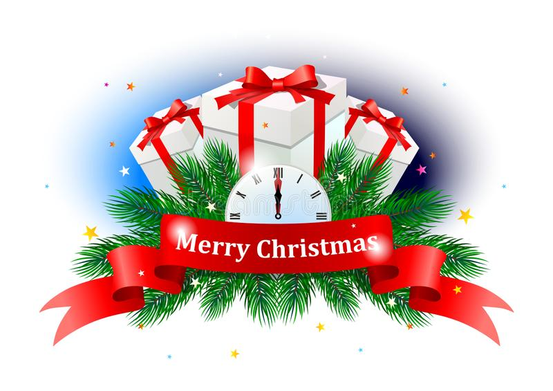 Merry Christmas colorful label. vector illustration