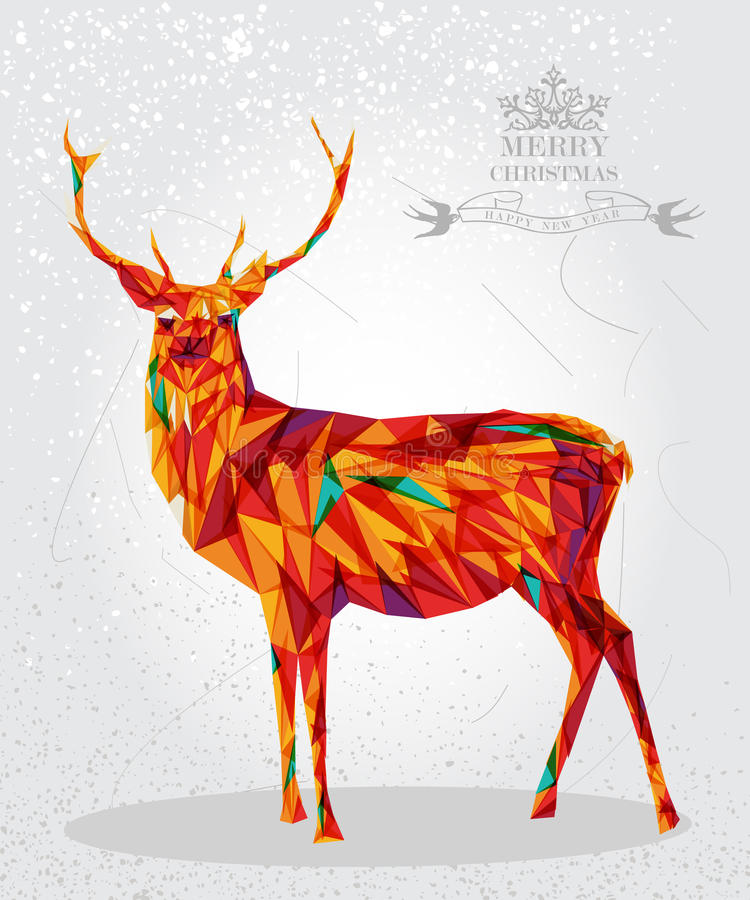 Merry Christmas colorful reindeer shape. royalty free illustration