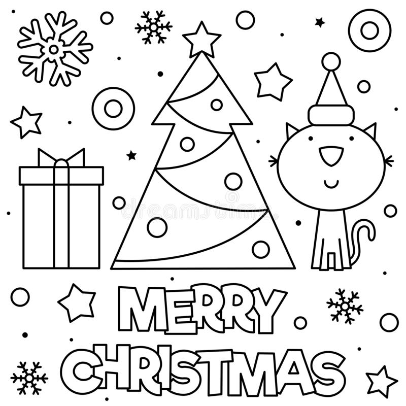 Merry Christmas. Coloring Page. Black And White Vector ...
