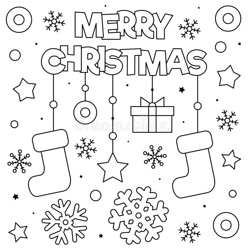 Merry Christmas. Coloring page. Black and white vector illustration. stock photos