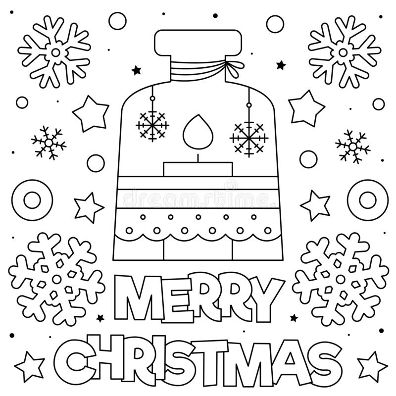Merry Christmas. Coloring page. Black and white vector illustration. stock images