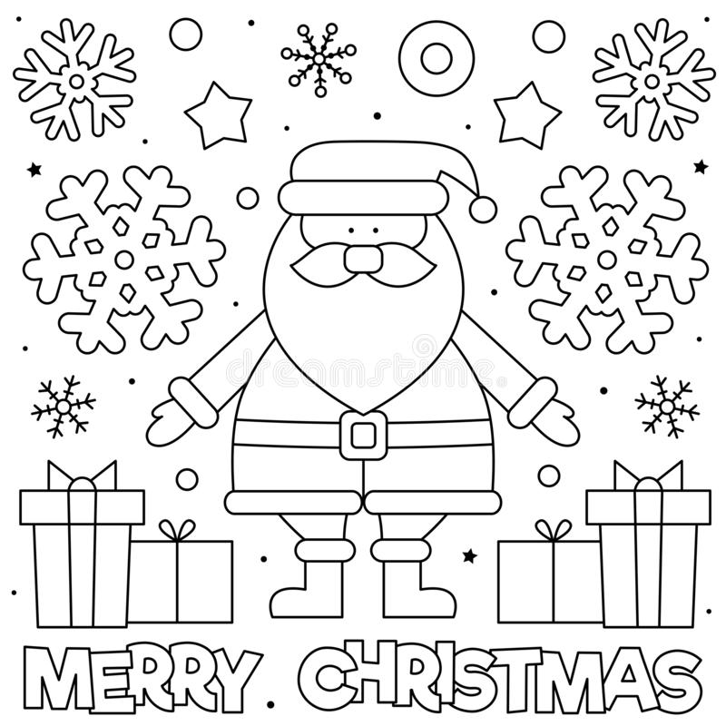 Merry Christmas Coloring Page Royalty Free Vector Image: Coloring Page. Vector Illustration. Stock Vector