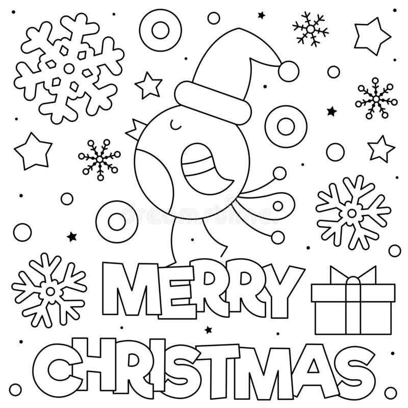 Merry Christmas. Coloring Page. Black And White Vector Illustration. Stock  Vector - Illustration Of Merry, Black: 159012132